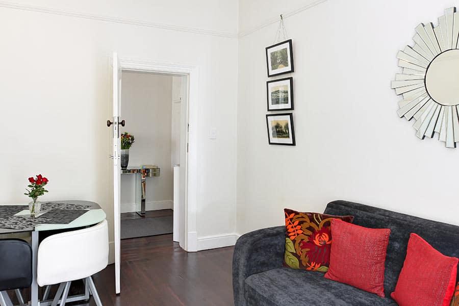 Art Deco living room area self catering apartment