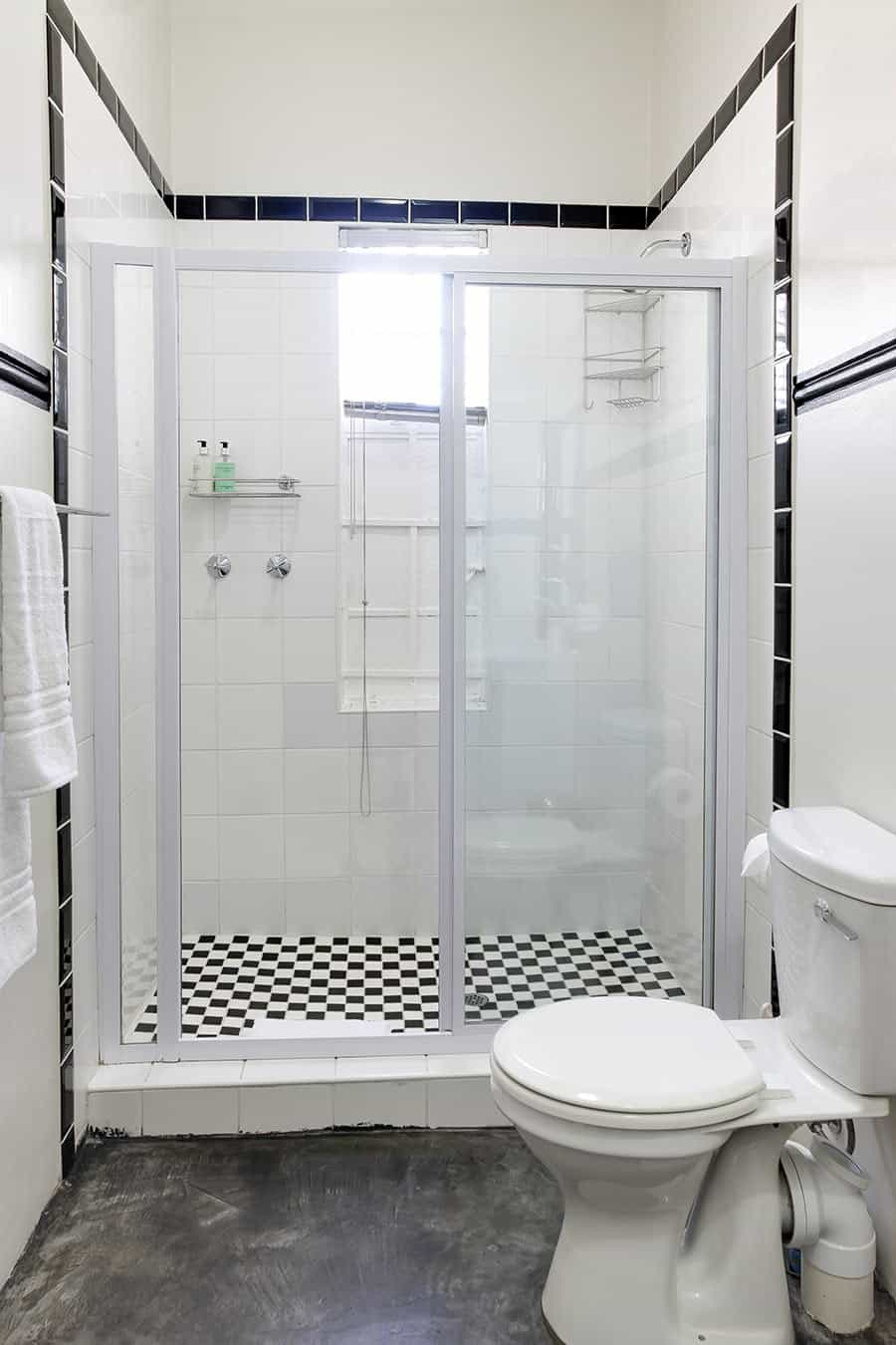 Self catering apartment shower and bathroom