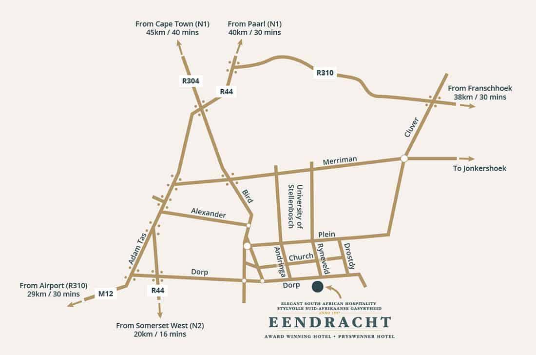 Map directions to Stellenbosch Eendracht Hotel